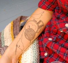 sewing, crochet, embriodery, etc tattoo. Really cute