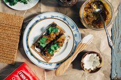 Black Bean Pâté + Onion Jam Crisps with Almond Cheese