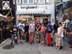 The side street surfing longboard crew ready for a Friday night session in Toronto