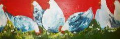 Kakelende kippen, schilderij van Loes Loe-sei Beks   Abstract   Modern   Kunst