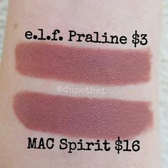 So everyone tells me that I need to get Spirit from Mac and I almost purchased it the other day but luckily I didn't because I just saw this #dupe! I've never tried any e.l.f. lip products so if you have let me know how the quality is. Either way, I will certainly be purchasing the e.l.f. Praline lipstick because it's practically an exact dupe! Love that! - swatches via @dupethat