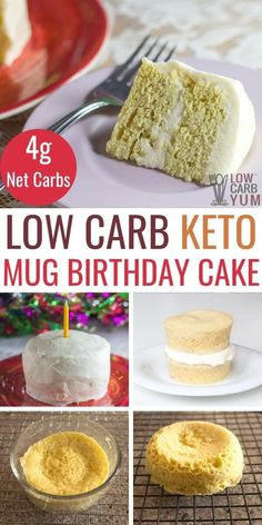 Need a personal sized low carb cake for someone special that takes minutes to make? Try this gluten free keto birthday cake. It bakes in only 2 minutes. #keto #lowcarb #ketorecipe #birthdaycake   LowCarbYum.com