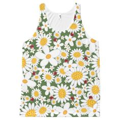 Whimsical Flowers White Daisies Ladybugs T-shirt All-Over Print Tank Top Tank Tops