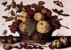 """AST, Balthasar van der (b. 1594, Middelburg, d. 1657, Delft)   Click! Basket of Fruits  c. 1625 Oil on wood, 14 x 20 cm Staatliche Museen, Berlin  Typically, Italian and French fruit still-lifes in the 17th century tend towards a strictly objective description of the actual phenomena. The Dutch, on the other hand, were still in the tradition of """"disguised symbolism"""" (Erwin Panofsky) as something that gave depth to empirical precision. Balthasar van der Ast's Fruit Basket, for example…"""