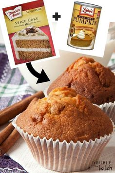 Easy Pumpkin Spice Muffins | use yellow cake mix and add cinnamon or pumpkin pie spice | will taste better
