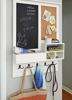 Keep your family organized with this entry message center. This clever project acts as a mail drop key holder and versatile message center that includes a chalkboard and cork board. Customize to suit your needs by adding two chalkboards or corkboards r