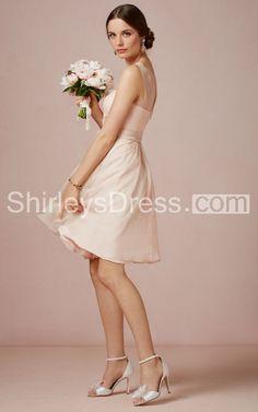 Short Sleeveless Low-V A-line Chiffon Bridesmaid Dress