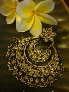 Unique Ear rings for Wedding -- Bridal Jewelry Mughal Jewelry, India Jewelry, Temple Jewellery, Ethnic Jewelry, Antique Jewelry, Vintage Jewelry, Indian Wedding Jewelry, Bridal Jewelry, Gold Jewelry
