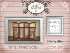 Second Life Original Mesh Vintage Retro Privacy or Dressing Screen November Free Group Gift @ irrie's Dollhouse  http://maps.secondlife.com/secondlife/Mystic%20Sea/25/63/21