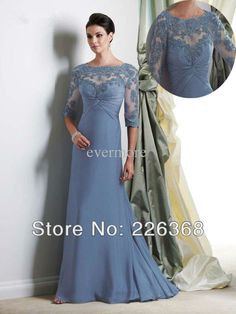 Charming Custom Full-Length Mother Of The Bride Lace Dress 2013 With Sleeves Plus Size Free Shipping $145.00