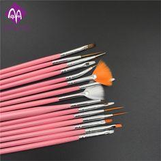 15PCS/set Nail art decoration brush set ,professional nail art painting pen,white pink nail brush