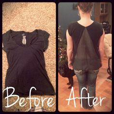 DIY refashion. Too small basic tshirt added some extra material on the back.