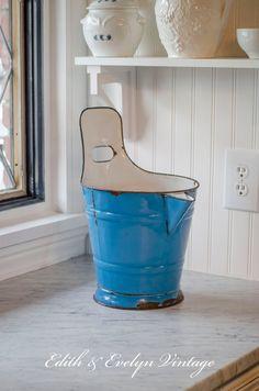Antique European Milk Bucket French Blue Enamel by edithandevelyn