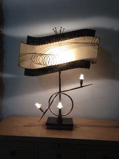 Vintage 1950s BEST ATOMIC Majestic brass LAMP FIBERGLASS SHADES MIDCENTURY