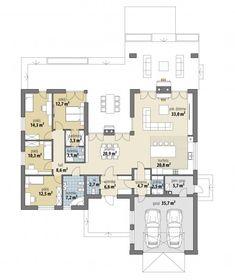 Nevada - Dobre Domy Flak & Abramowicz Bungalow Floor Plans, Modern Bungalow House, Simple House Plans, Beautiful House Plans, House Furniture Design, House With Porch, House Blueprints, Australian Homes, House Layouts