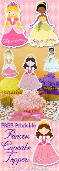Three designs of princess cupcake toppers- At the end of the post-  see the orange  download link- click here to download the template. Save as!