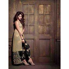 Eid Special Designer Cream & Black Embroidered Cut Straight  Salwaar Suit -2109(OFB-293) Karishma