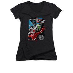Justice League - Galactic Attack Junior V-Neck T-Shirt