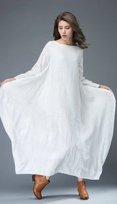 White Dress Linen Dress Everyday Dress Maxi Dress por YL1dress