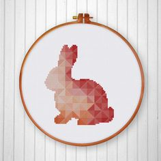 Geometric Bunny cross stitch pattern Cute coral от ThuHaDesign