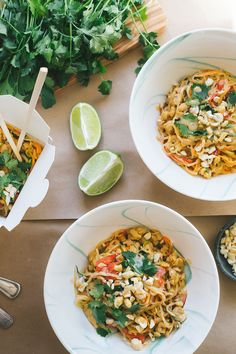 Creamy cashew thai sauce full of zing. Tossed with veggie and kelp noodles, and topped with cilantro and lime! Get the vegan recipe on Faring Well.