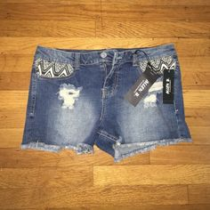 Jean Shorts Distressed jean shorts with cute design on pockets! Perfect for summer! Brand new! Shorts