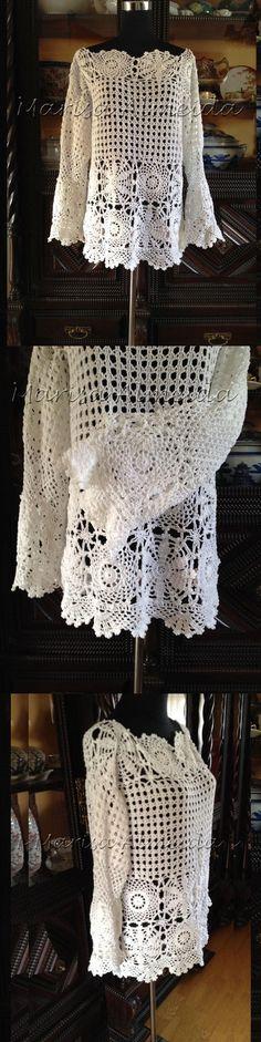 Blusa Crochet Sonho | Marisa Feito a Mão | Elo7. Blusa Crochet com manga sino, confeccionada em fio de algodão. Sob encomenda na cor e tamanho à escolha.