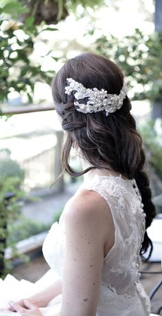Lace Headpiece, Venice Lace Headpiece, Weddings, Accessories, Ivory Headpiece, Pearl Headpiece, Crystal Headpiece, Boho Headpiecel