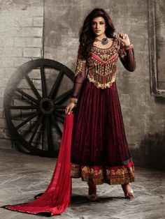 Black And Red Net Anarkali Suit With Embroidery And Diamond Work www.saree.com
