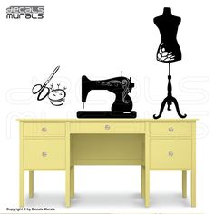 Wall decals SEWING ROOM decor - Sewing machine Mannequin art stickers by Decals Murals. $28.99, via Etsy.