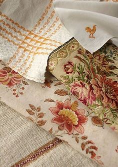 Bringing out the autumn linen, collected over the years, and getting it ready for Thanksgiving company. French Country Fabric, French Fabric, French Country Cottage, French Country Style, Country Farmhouse, Country Kitchen, French Farmhouse, Country Life, French Decor