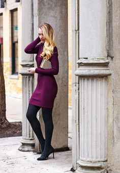 Bodycon Sweater Dress - Style by Joules - purple bodycon sweater dress, tights, pumps, gold clutch, winter outfit Source by HarleyHurn - Purple Sweater Dress, Green Dress Outfit, Navy Dress Outfits, Bodycon Outfits, Sweater Dress Outfit, Winter Dress Outfits, The Dress, Tights Outfit Winter, Sweater Tights