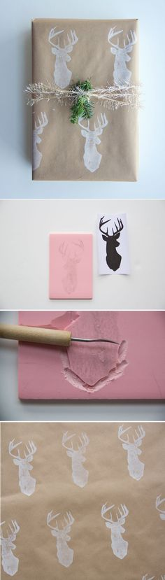 DIY : Wrapping Paper + Deer Stamp Tutorial by Rose Rose Costa for Poppytalk Noel Christmas, Christmas Crafts, Diy Projects To Try, Craft Projects, Diy Wrapping Paper, Wrapping Ideas, Diy Paper, Stamp Carving, Christmas Gift Wrapping