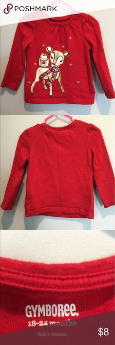 Gymboree Deer & Owl Tee This super cute red long sleeve tee features an adorable deer and owl appliqué. In perfect condition!! Gymboree Shirts & Tops Tees - Long Sleeve