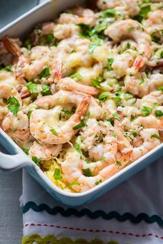 Skinny Baked Shrimp Scampi with Spaghetti Squash www.pineappleandcoconut.com