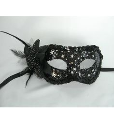 Adult Black Lace Feather Flower Masquerade Ball Half Face Mask Women SKU-321200