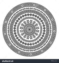 Monochromatic Ethnic Seamless Textures. Round Ornamental Vector Shape Isolated On White. Oriental Arabesque Pattern Background. Vector Illustration In Black And White Colors. - 217195537 : Shutterstock