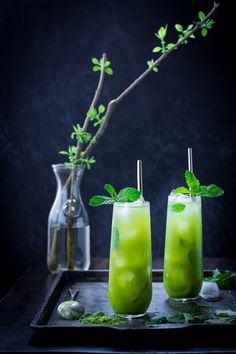 "Matcha Mint Juleps (Matcha is an amazingly healthy, cancer preventing Japanese Green Tea)....  One of the drinks in my article The ""Cool School"", Part 2.....  Cool Refreshing Summer Drink Recipes, for ""Grown Folks"" (with a few quick notes on healthy sweeteners)"