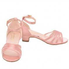 52b3e78bf165 De Blossom Girls Pink Bead Adorned Low Heel Ankle Strap Sandals 11-4 Kids  Ankle