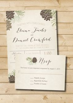 Rustic Pinecone Fall Winter Wedding Invitation and Response Card - Digital Files Also available as a printed suite