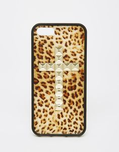 Wildflower Leopard Print iPhone 5/5s Case With Cross Studding