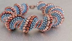 bead bracelet blue beadwork bracelet cellini bead by beadnurse  I love her color combinations