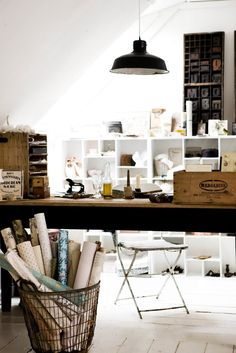 studio. love the work bench and the basket with wrapping papers