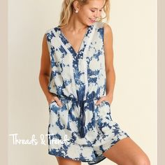 Pastel Splatter Printed Romper New look for the romper this season. Denim color splatter print pattern  slightly oversized. Lace detail and a drawstring waist. Made of rayon. Pastel Threads & Trends Pants Jumpsuits & Rompers