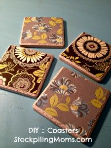 #DIY :: Tile Coasters - A great gift idea!  www.stockpilingmo...