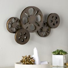 """Movie Reel Wall Decor large 34"""" antique bronze metal movie reel wall art theater movie"""