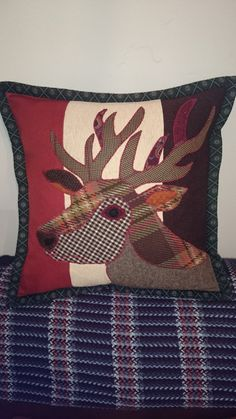 Sewing Cushions Handmade Stag Applique Cushion, fabulous one of a kind colour-way - Applique Cushions, Sewing Pillows, Felt Applique, Applique Quilts, Applique Ideas, Animal Cushions, Owl Pillows, Burlap Pillows, Decorative Pillows