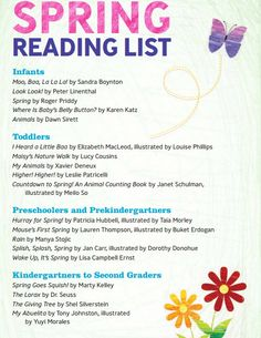 KinderCare Spring Reading List Ages: Infants, Toddlers, Preschool, PreK and Kindergarten School Age Activities, Spring Activities, Preschool Literacy, Pre Kindergarten, Preschool Rules, Social Studies Curriculum, Creative Curriculum, Children's Picture Books, Kids Reading