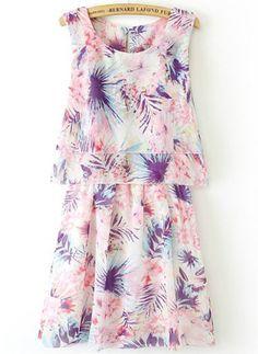 robe en mousseline plissée motif floral sans manche -rose  photos