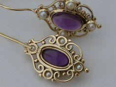 Vintage Amethyst Earrings 9ct 9k 10k Gold E14 pearl by GTJewellers